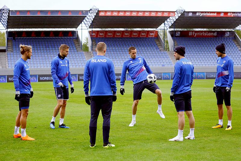 Islands Nationalteam beim Training