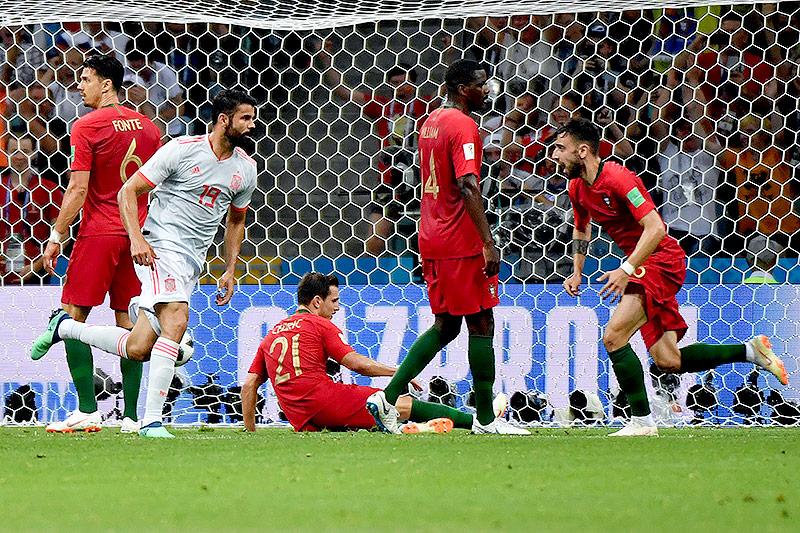Jubel von Spaniens Diego Costa nach dem 1:1 gegen Portugal