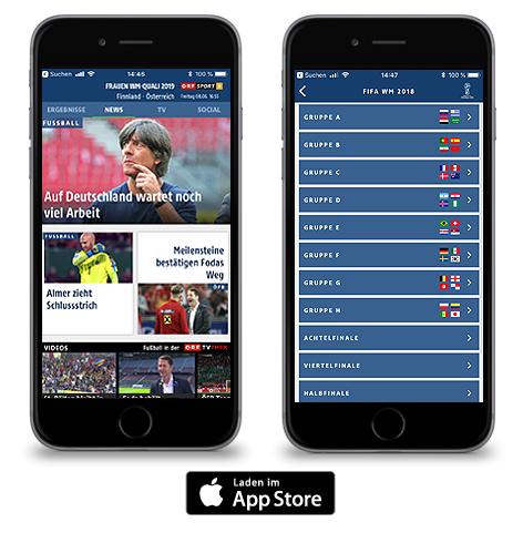 Screenshots der ORF-Fußball App