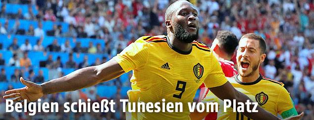 Jubel der belgischen Torschützen Romelu Lukaku und Eden Hazard