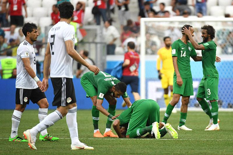 Spieler von Saudi Arabien jubeln
