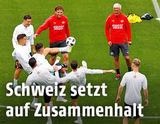 Schweizer Spieler beim Training