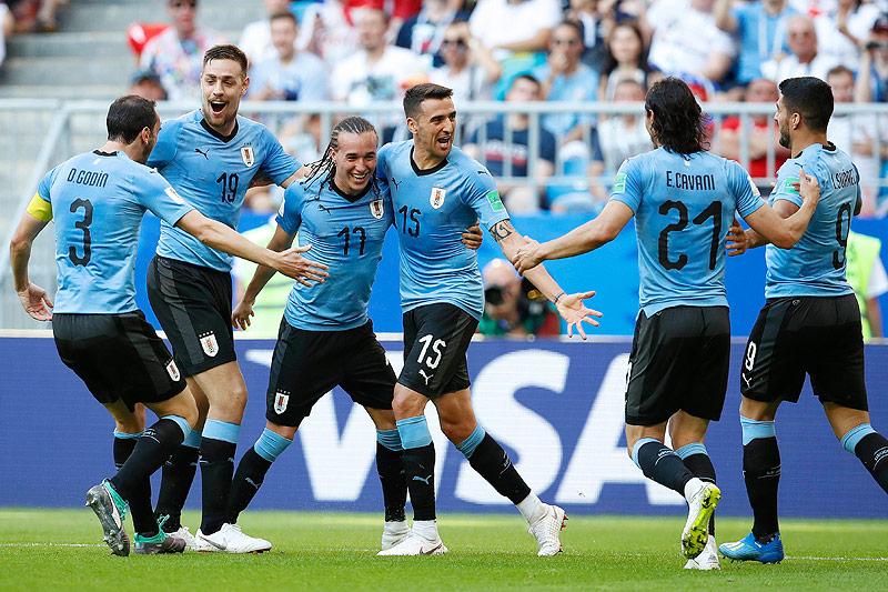 Spieler von Uruguay jubeln