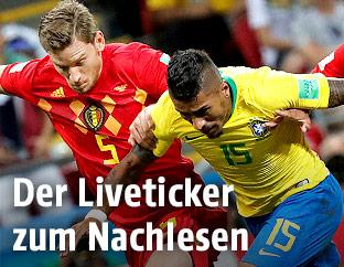 Spielszene zwischen Brasilien und Belgien