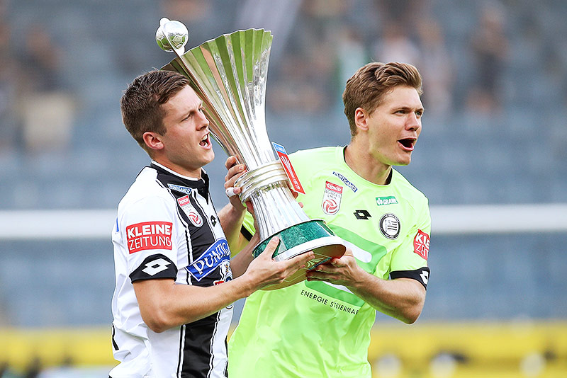 Deni Alar und Joerg Siebenhandl (beide Sturm) ÖFB-Cup-Pokal