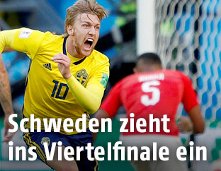 Jubel von Emil Forsberg (Schweden) nach seinem Tor gegen die Schweiz
