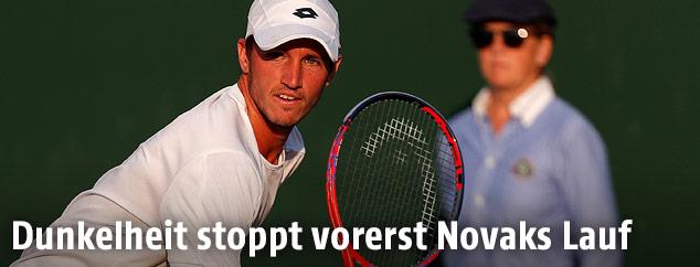 Dennis Novak (AUT) im Match gegen Milos Raonic (CAN)