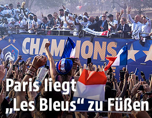 Ankunft der französischen Nationalmannschaft in Paris