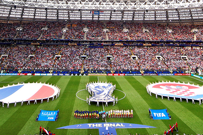 Totale des Luschniki-Stadions in Moskau vor dem Beginn des WM-Finales